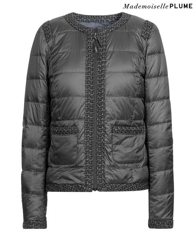 Doudoune réversible avec bords en tweed VENETA - Couleur NOIR - mademoiselle Plume Comptoir des Cotonniers