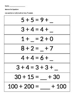 This worksheet for first and second graders has equal equations with a missing addend on one side of the equation.  Meets Common Core State Standards for first grade!