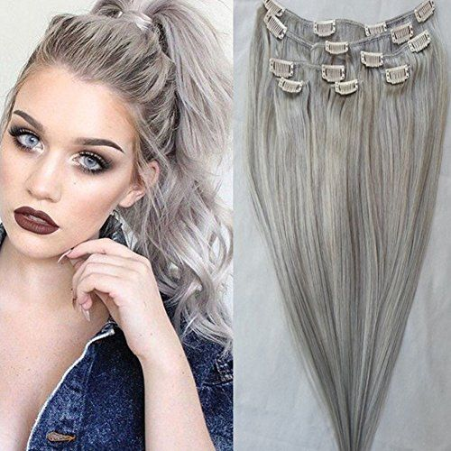 9 best clip in human hair extensions afro kinky curly hair images gray clip in human hair extensions 120gset 18inch peruv https pmusecretfo Choice Image