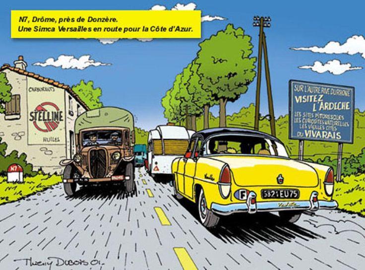 Une Simca Versailles, N7 Drome, pres de Donzere