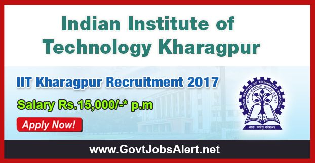 """IIT Kharagpur Recruitment 2017 - Hiring Project Assistant  Post, Salary Rs.15,000/- : Apply Now !!!  The Indian Institute of Technology Kharagpur – IIT Kharagpur Recruitment 2017 has released an official employment notification inviting interested and eligible candidates to apply for the positions of Project Assistant under DST sponsored project entitled, """"An Electrochemical Sensor Based Handheld Potentiostat to Measure Urea/ Creatinine Ratio in Blood and Urine(HUC)""""."""