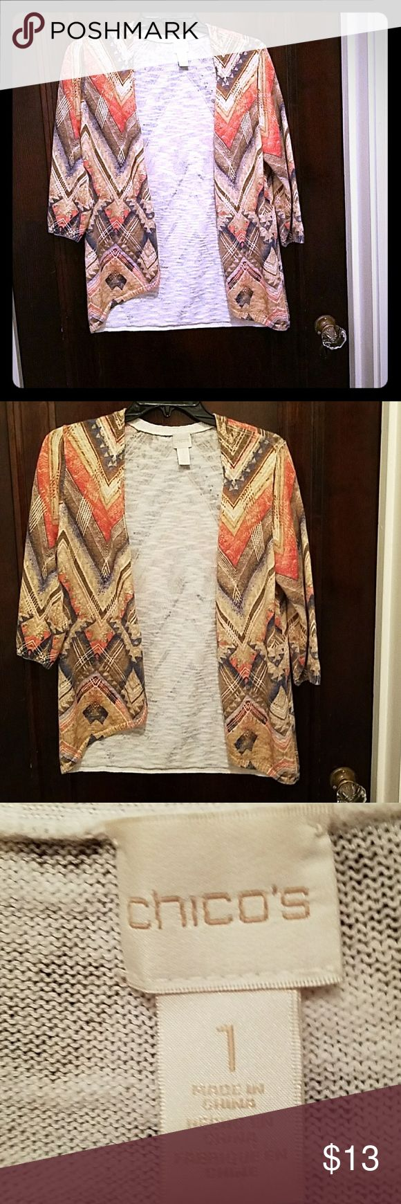 Chicos Tribal Cardigan Sweater Excellent condition. Size 1 Chicos tribal cardigan sweater. Literally an excellent condition. Chico's Sweaters Cardigans