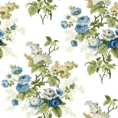 """York Wallcoverings Waverly Cottage Emma's Garden 33' x 20.5"""" Floral Wallpaper Color: White, Blue, Yellow Green and Beige"""