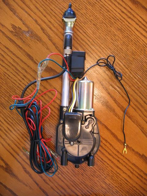 Material list: Automatic car antenna (purchased off eBay new for $18.50 delivered. Two power adapters 12 volt 5 amps min. Think LCD monitor power adapters. I purchased 2, new off eBay for under $20.00 delivered. 3 or 4 flat wire connectors (optional, can