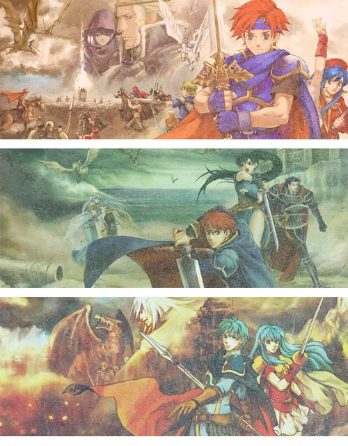 Fire Emblem GBA series photo set: Sword of Seals, The Blazing Sword, and The Sacred Stones
