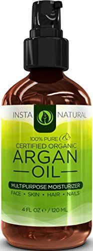 cool InstaNatural THE BEST Organic Argan Oil For Hair, Face, Skin & Nails - 100% Pure & EcoCert Certified Organic Argan Oil Multipurpose Moisturizer, 4 Fluid Ounce