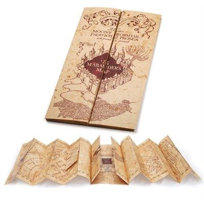 A detailed full size Marauder's Map replica printed on parchment paper. Measures 15.5 x 72 inches open, folds to 15.5 x 8.25 inches