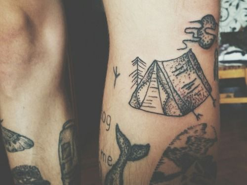 Legs tattoo blackwork Dotwork stick and poke stick n poke linework homemade tattoo handpoke