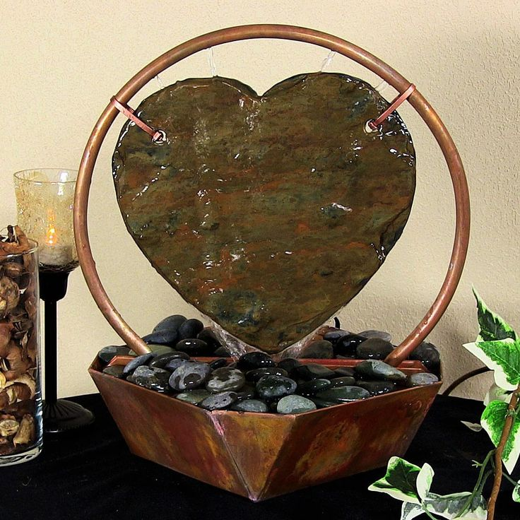 Bring Romance And Relaxation With The Tall Sunnydaze Copper And Slate Heart Tabletop  Fountain From Serenity Health.