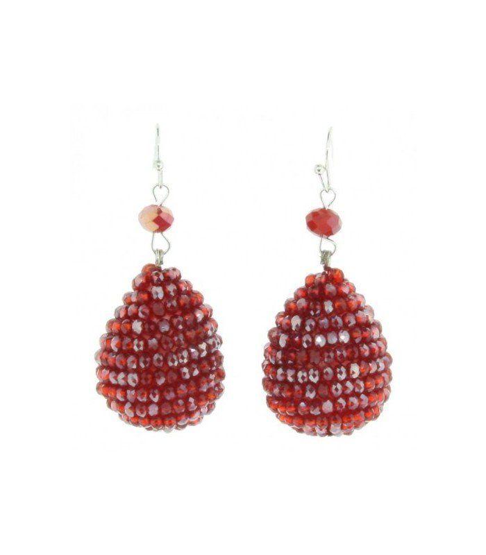 Rode druppel oorbellen van facet glaskralen | Mooie trendy rode oorbellen van facet glaskralen