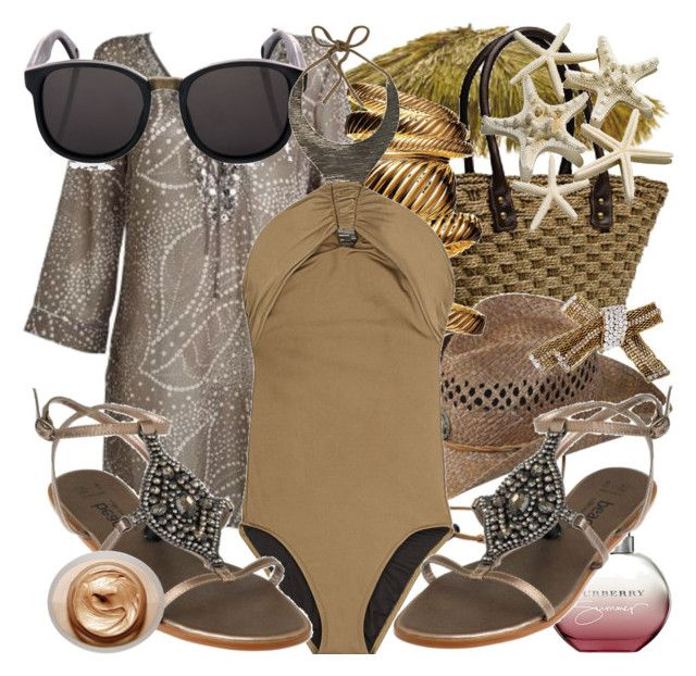 """""""Lookin' Hot In Cancun!"""" by laydeelinz ❤ liked on Polyvore featuring J by Jasper Conran, J.Crew, Eddy Bros., Doma, La Perla, Burberry, Melissa Odabash, gladiator sandals, kaftan top and brown"""