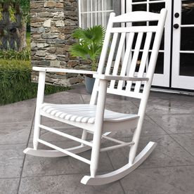 Shine Company Maine White Wood Slat Seat Outdoor Rocking Chair