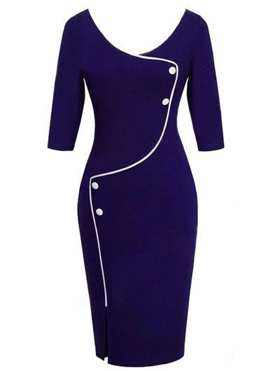 Navy Blue 3/4 Sleeve Pencil Dress For Work Shows off the collarbones and wrists.