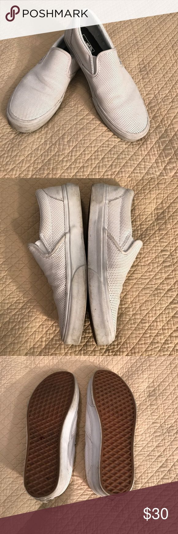 Vans, Women's Perforated Leather, White Slip-on At it again with the white vans. Cute perforated white leather slip-on vans in excellent condition. Vans Shoes
