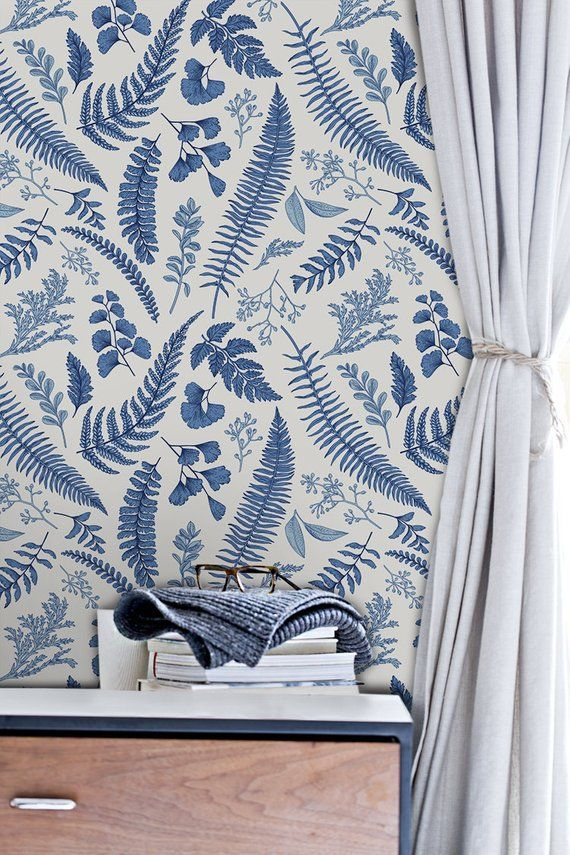 Blue fern leaves removable wallpaper blue wall mural