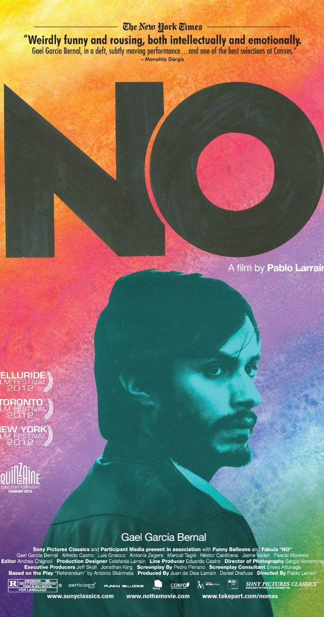 Directed by Pablo Larraín.  With Gael García Bernal, Alfredo Castro, Antonia Zegers, Luis Gnecco. An ad executive comes up with a campaign to defeat Augusto Pinochet in Chile's 1988 referendum.