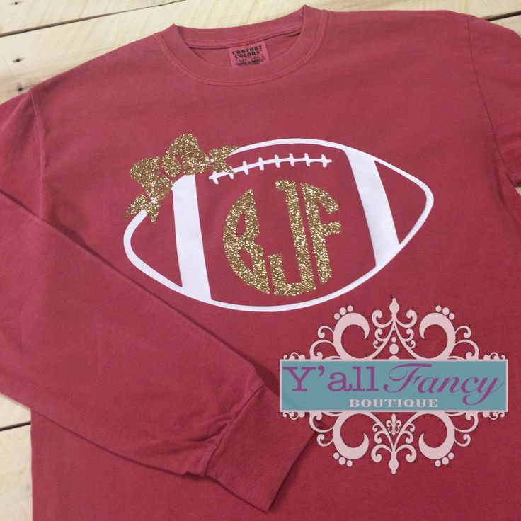 Long Sleeve Glitter Monogrammed Football Comfort Colors Tee - Y'all Fancy by YallFancyBoutique on Etsy