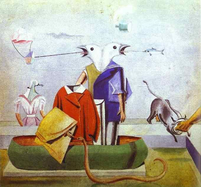 Birds, Fish-Snake and Scarecrow Painting by Max Ernst