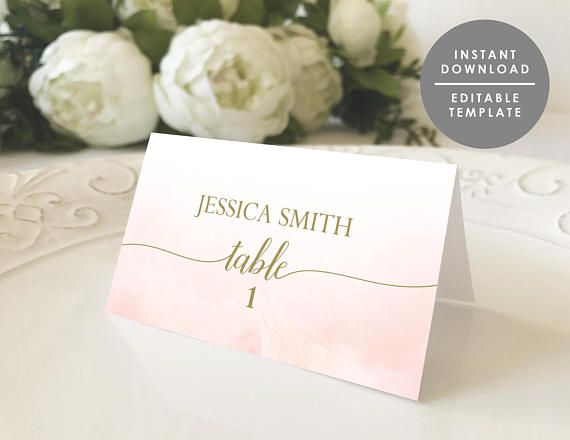 Printable place card, place card template, name card, instant download, Blush and gold, watercolor, coral