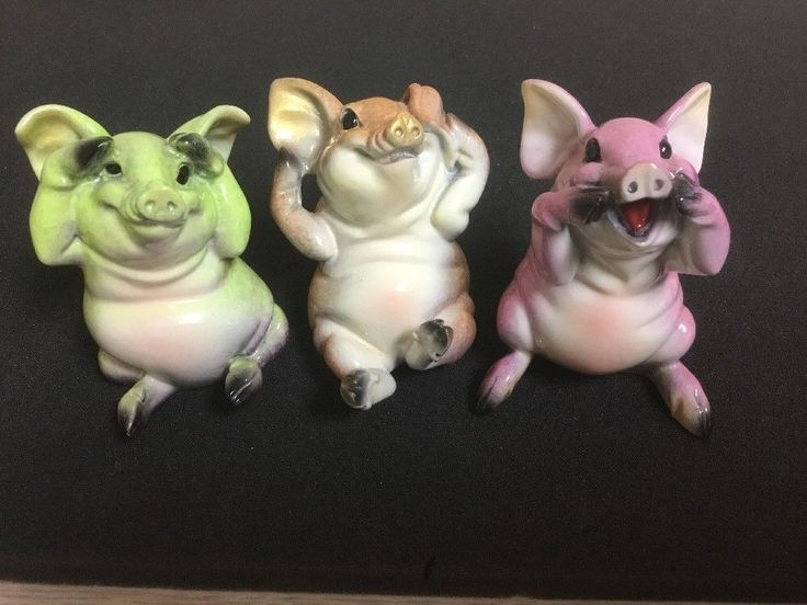2003 Kitty's Critters See No Evil, Hear No Evil, Speak No Evil ~ Porcelain Pigs