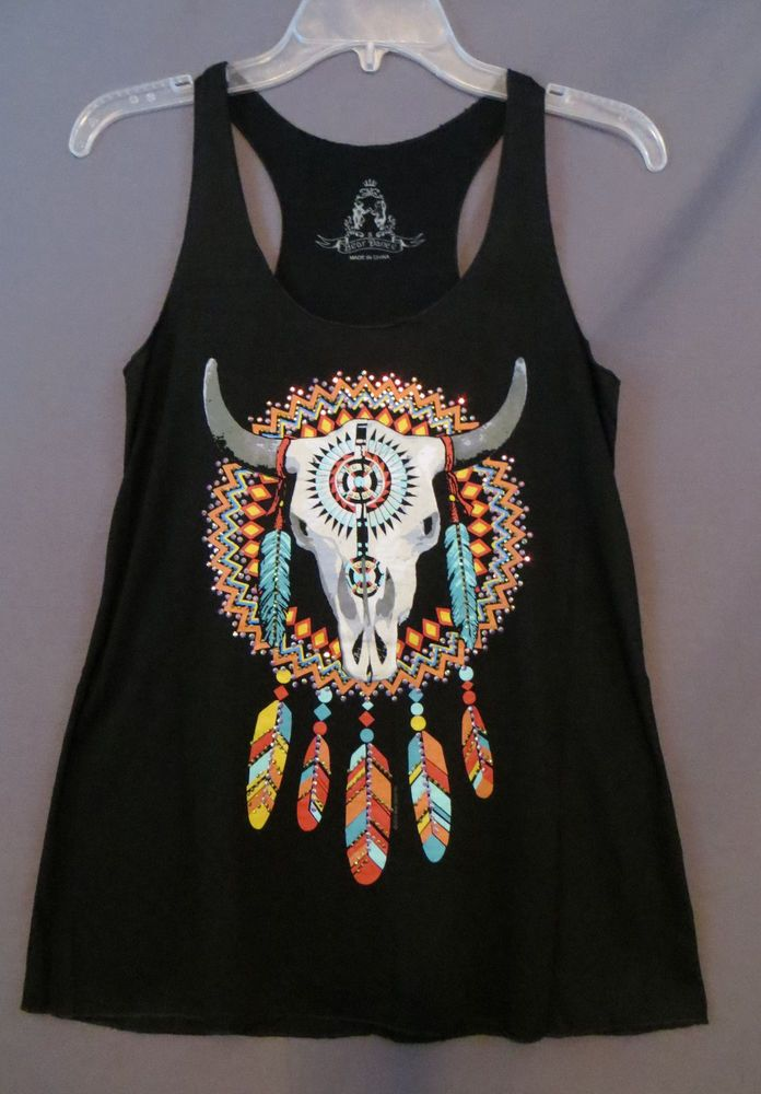 COWGIRL Bling gYPSY SKULL FEATHERS DREAM CATCHER Tank Top Shirt Western Small #BEARDANCE #TANK