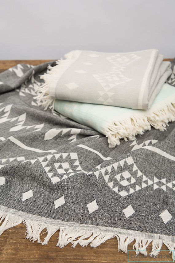 Eco Friendly Aztec Tribal Bohemian Towel Blanket Geometric Pattern Towel,Grey…