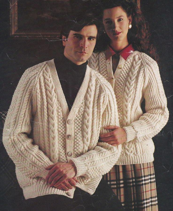De 100 bsta aran cable knitting patterns vintage bilderna p vintage knitting pattern instructions to make ladies mens aran cardigan 32 44 dt1010fo