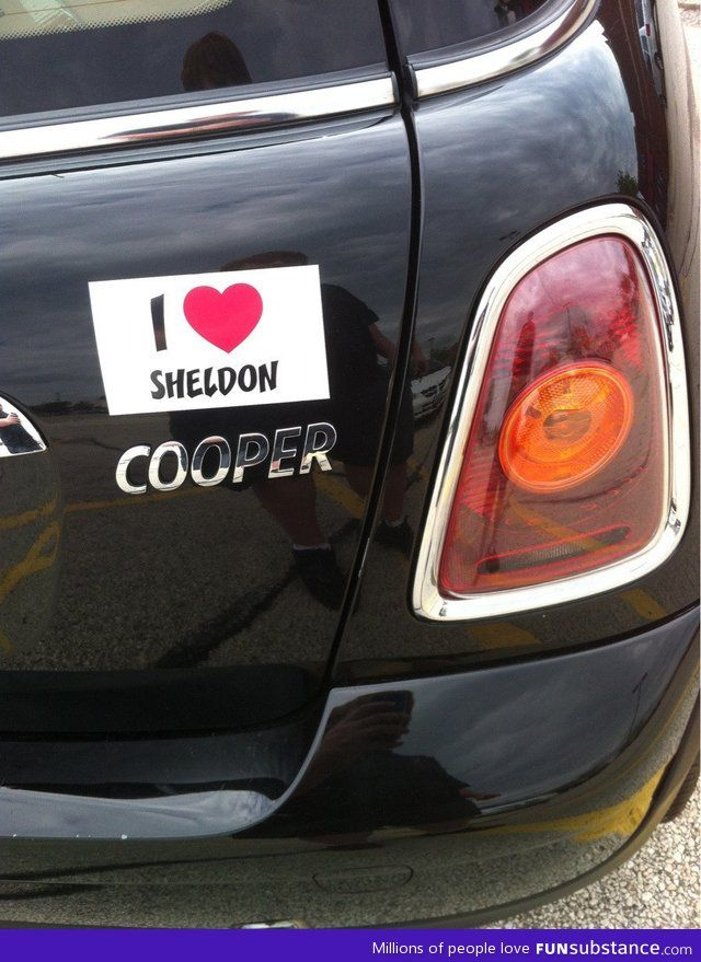 I want to buy a mini just so I can get this sticker. I love Sheldon and his awkwardness.