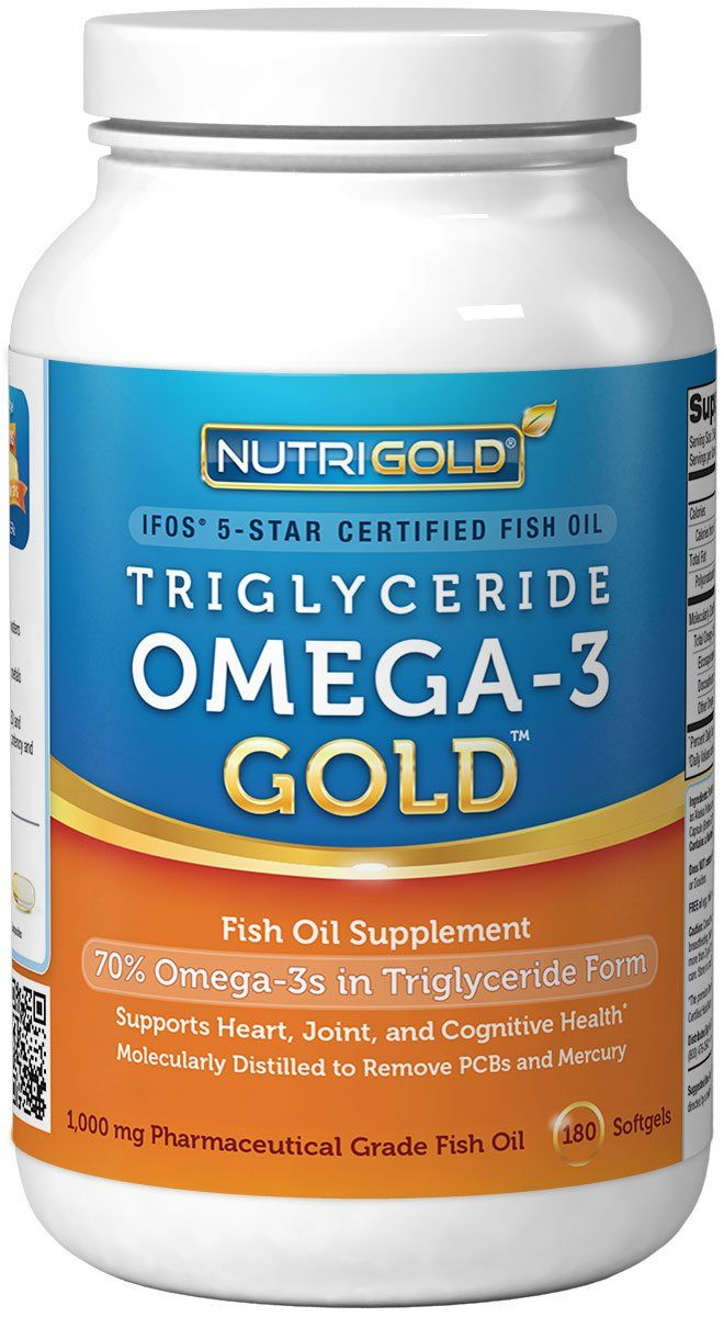 Omega 3 Fish Oil Capsules - Triglyceride Omega-3 Gold, 1000mg, 180 Softgels