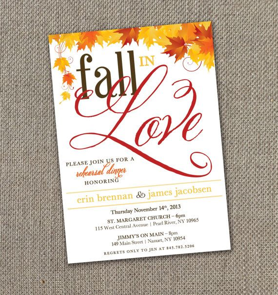 Fall in Love Rehearsal Dinner Invitations! Autumn Wedding. DIY