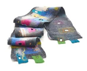 "Unique artistic nuno felted scarf ""drawn"" on silk canvass with merino wool. Nuno felting technique."