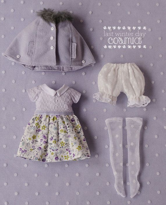 This set was carefully sewn and designed by me. It is inspired by the last winter days and the first spring days. The outfit includes four matching