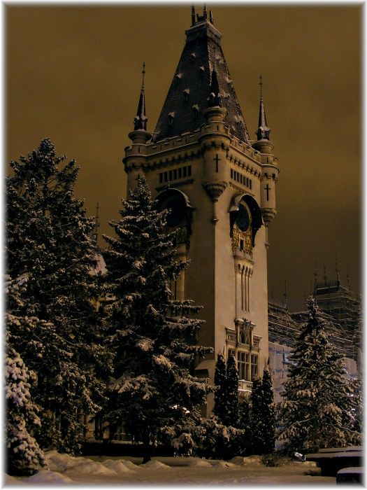 """The Palace of Cultur,  Iaşi, Romania.  Thanks to Ionut Vrabie for sharing this darkly romantic capture.  Photographer's Note:  """"The Palace of Culture (Romanian: Palatul Culturii) is an edifice located in Iaşi, Romania. The building served as Administrative Palace and then Palace of Justice until 1955, when its destination was changed again, being assigned to the four museums nowadays united under the name of Moldova National Museum Complex. Also, the building houses the Cultural Heritage…"""