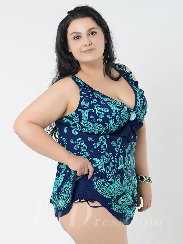 Lake Green Print Two-Pieces Plus Size Womens Swimsuit With Skirt Lidyy1605241011