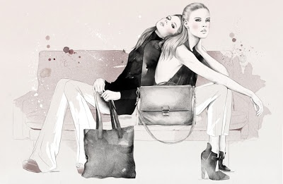 Esra Røise illustrated the SS/2013 campaign for Norwegian leather bags & accessories brand CALA & JADE. Love it!  www.esraroise.comwww.calajade.com
