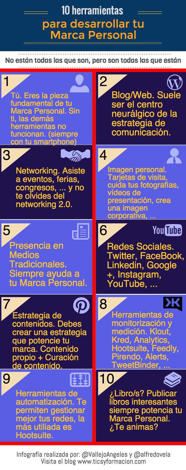10 herramientas para desarrollar tu Marca Personal #infografia #infographic #marketing