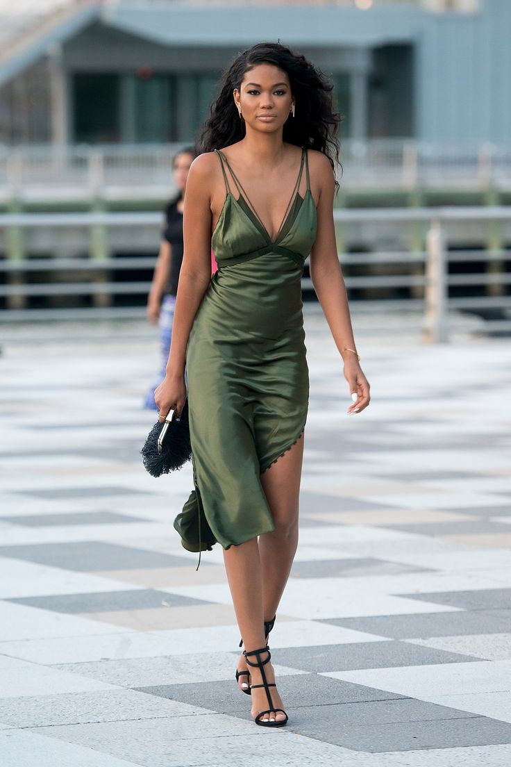 Chanel Iman in an olive green silk slip: extreme fabulous
