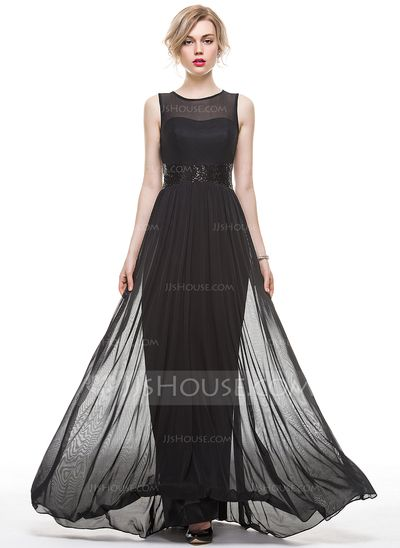 [US$ 82.99] A-Line/Princess Scoop Neck Floor-Length Chiffon Evening Dress With Sequins