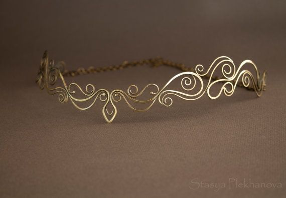 Elven tiara, Wire wrapped tiara, Elven diadem, Crown                                                                                                                                                                                 Plus