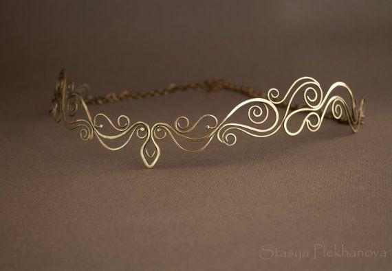 Elven tiara, Wire wrapped tiara, Elven diadem, Crown                                                                                                                                                                                 Plus