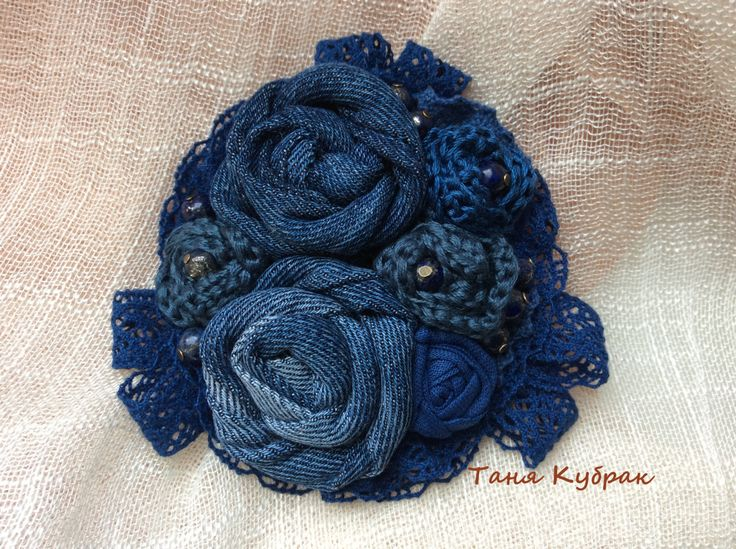 Brooch Denim bouquet by squerrelbench on Etsy