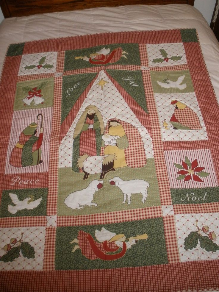 Nativity Scene Christmas Christmas Quilt Wall Hanging Wonderful Detail | eBay