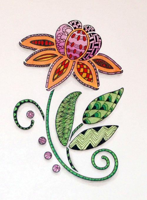 Stencilled Zentangle » Artful blogging from Glenda Waterworth