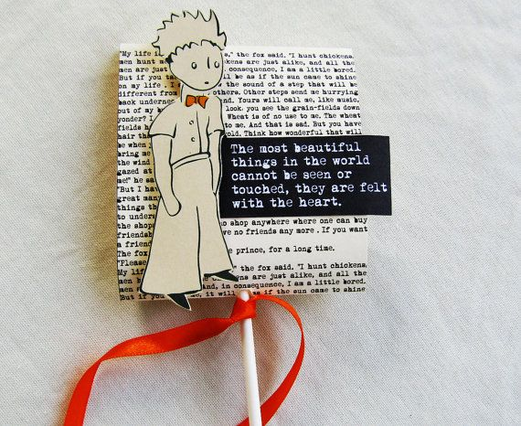 PETIT PRINCE lollipop cover gift with quote, favor, party gift set of TEN