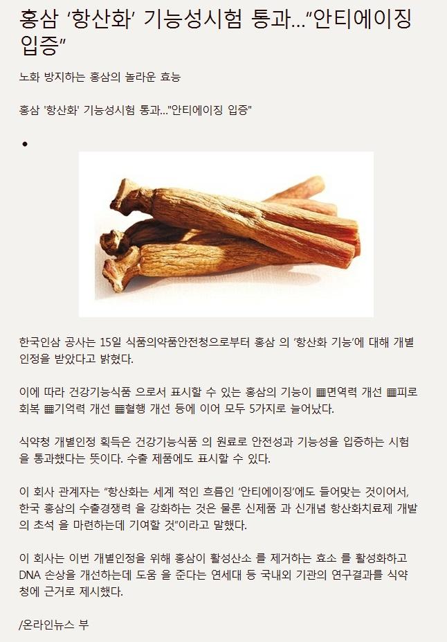 """홍삼 '항산화' 기능성시험 통과... """"안티에이징 입증""""  [출처: http://goo.gl/04xRo]"""