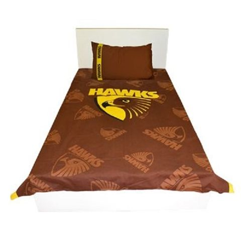 Single Double OR Queen Size Hawthorn HAWKS AFL FOOTBALL Doona Quilt Cover set