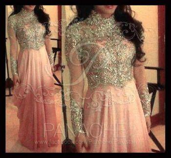 Newest Pink High Neck Appliqued Formal Kaftan Dress Floor Length Chiffon Long Sleeve Arabic Evening Dress
