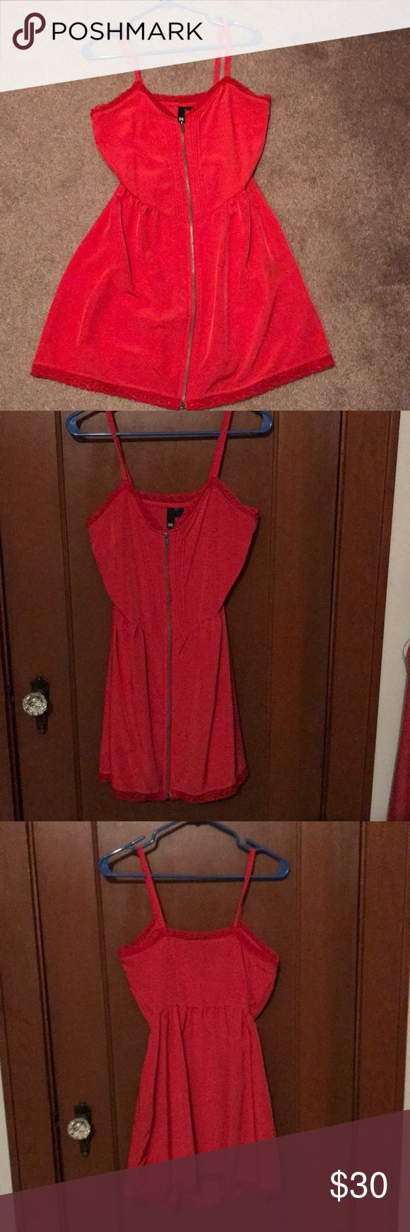 Red Cami Dress Red zip up cami dress- very flattering. Gently used. Size38 European- fits like a size 6-8 Dresses Mini