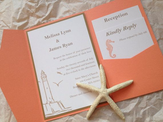 Lighthouse, beach wedding with seahorse and starfish design on Etsy, $5.10