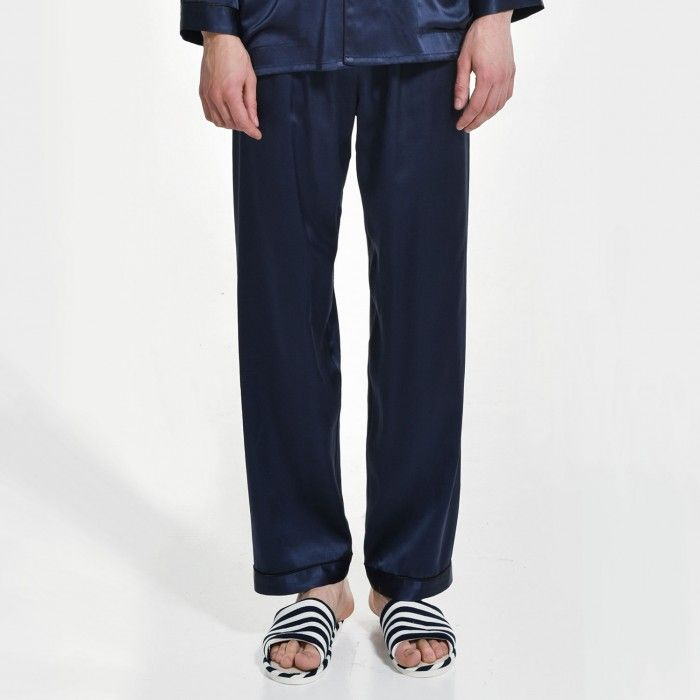 Mens Long Silk Pajama Pants Plus Size Sleep Bottoms - OOSilk #silk #sleepwear #nightwear #dressinggown #robe #bathrobe #tops #shorts #pants #trousers #bottoms #pajamas #pjs #set #silky #soft #comfort #breathable #smooth #onlineshopping #man #men #male #gentlemen #sleep #fashion #menfashion